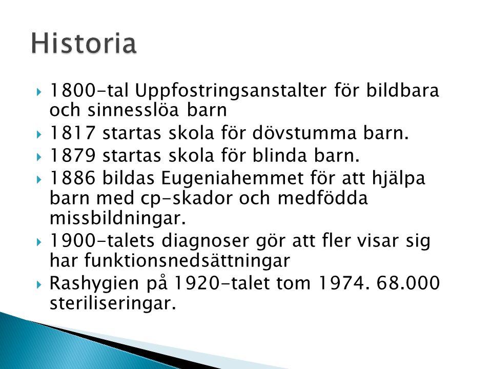 Historia 1800-tal Uppfostringsanstalter för bildbara och sinnesslöa barn. 1817 startas skola för dövstumma barn.