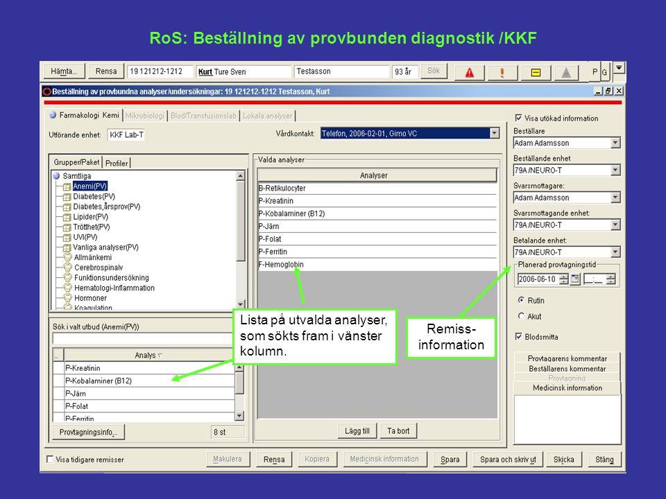 RoS: Beställning av provbunden diagnostik /KKF
