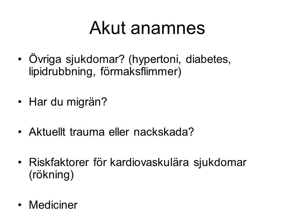 Akut anamnes Övriga sjukdomar (hypertoni, diabetes, lipidrubbning, förmaksflimmer) Har du migrän