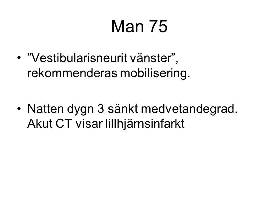 Man 75 Vestibularisneurit vänster , rekommenderas mobilisering.