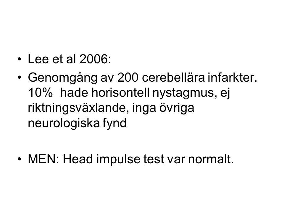 Lee et al 2006: Genomgång av 200 cerebellära infarkter. 10% hade horisontell nystagmus, ej riktningsväxlande, inga övriga neurologiska fynd.