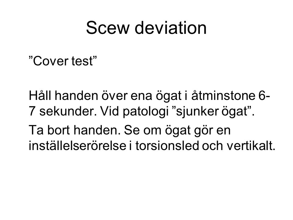 Scew deviation Cover test