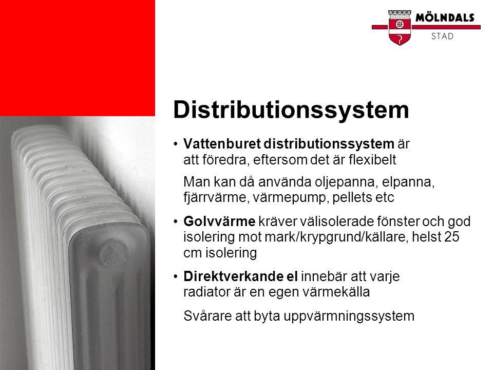 Distributionssystem Vattenburet distributionssystem är att föredra, eftersom det är flexibelt.