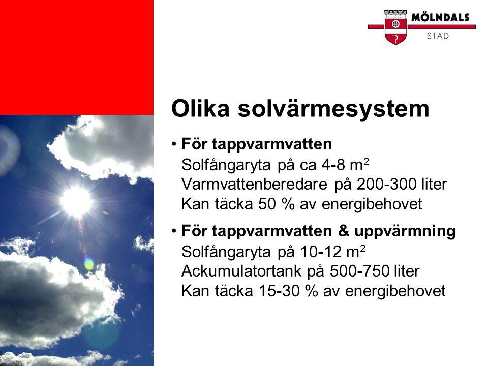 Olika solvärmesystem För tappvarmvatten Solfångaryta på ca 4-8 m2