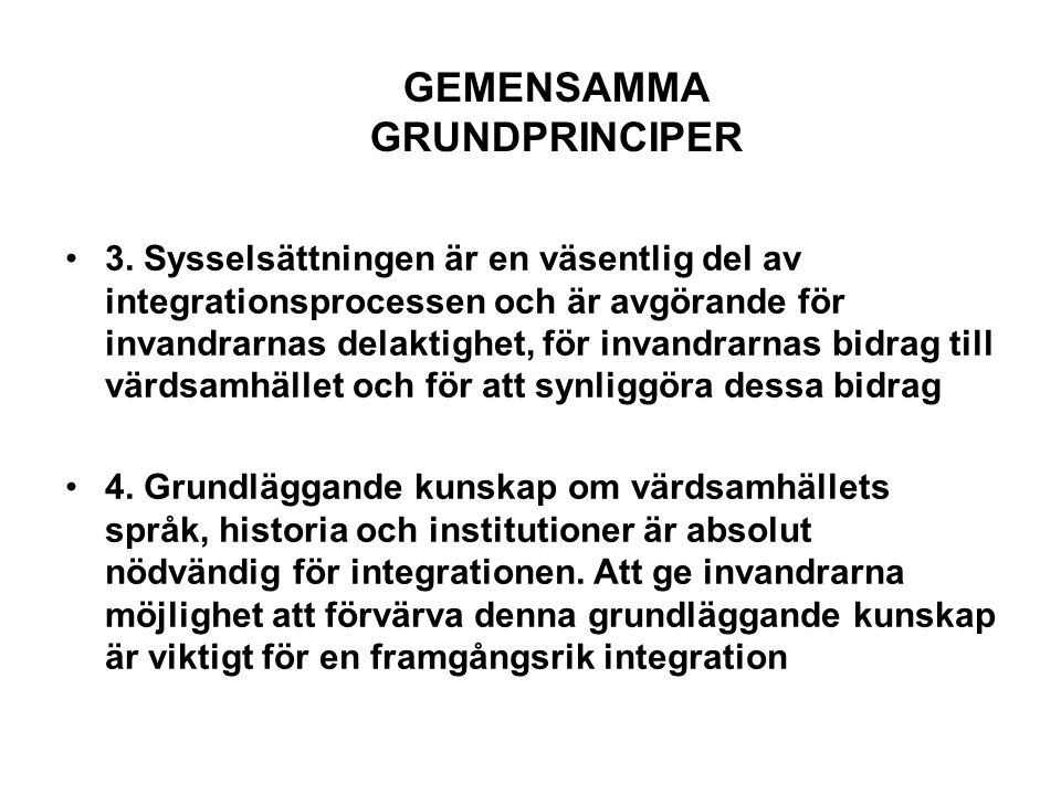 GEMENSAMMA GRUNDPRINCIPER