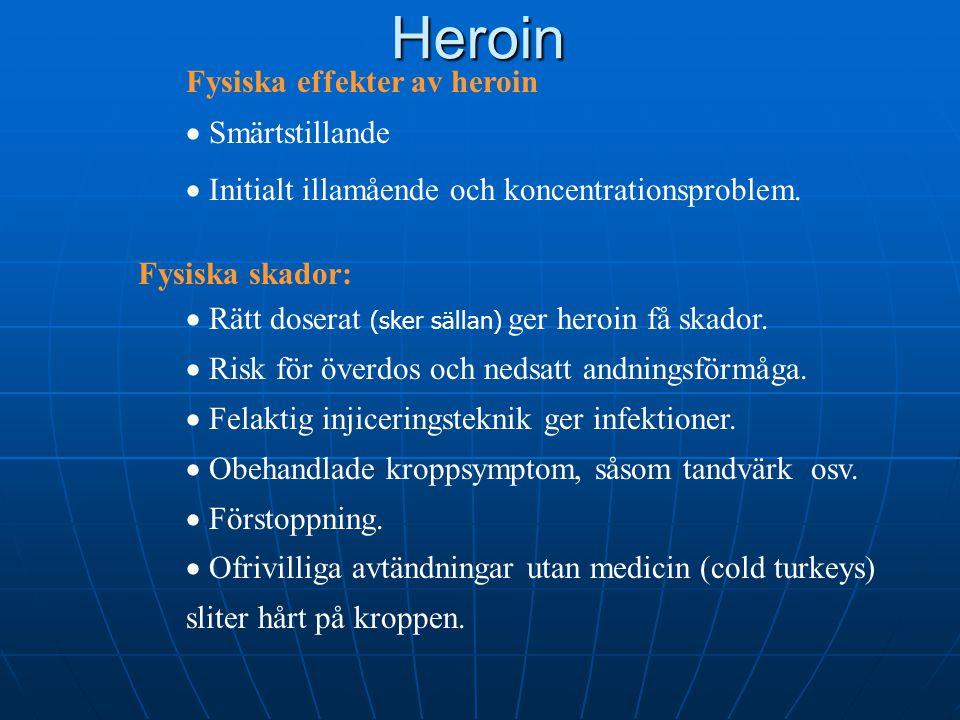 Heroin Fysiska effekter av heroin Smärtstillande