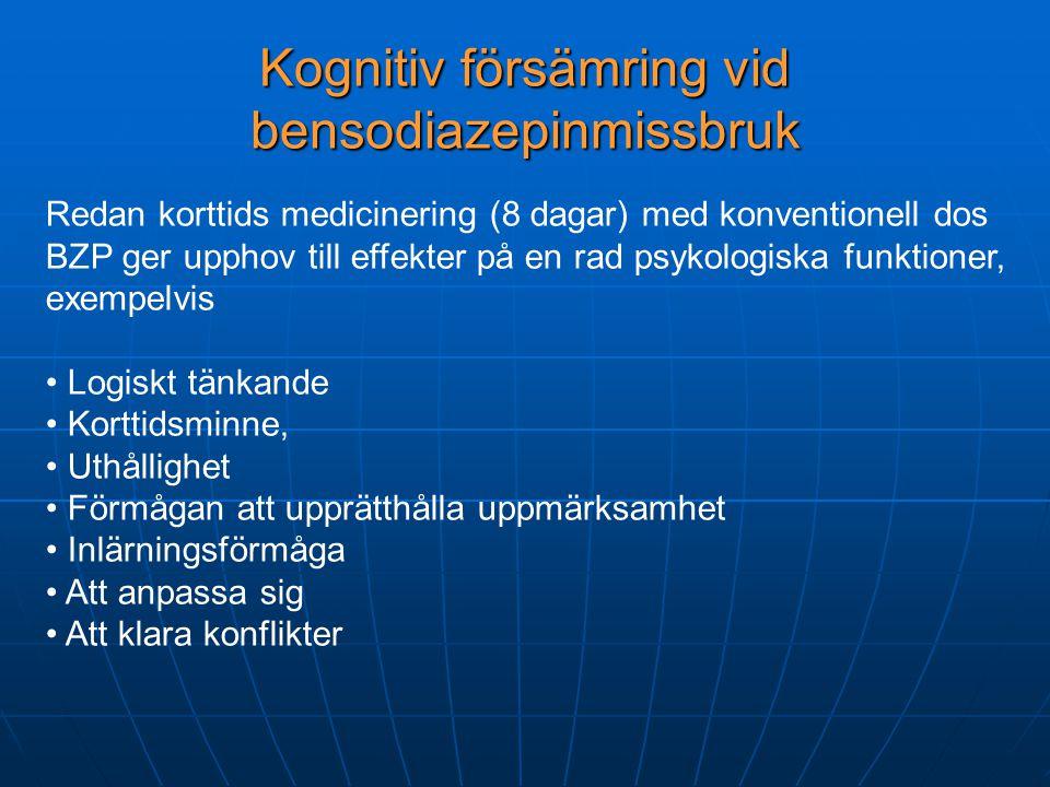 Kognitiv försämring vid bensodiazepinmissbruk