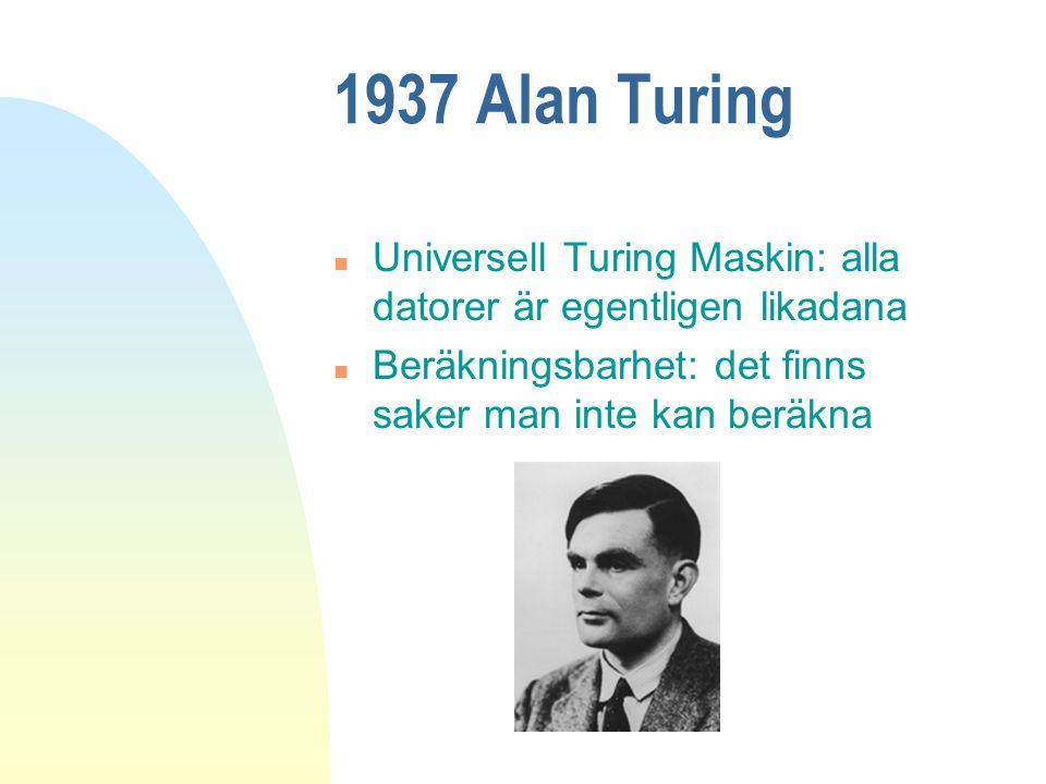 1937 Alan Turing Universell Turing Maskin: alla datorer är egentligen likadana.