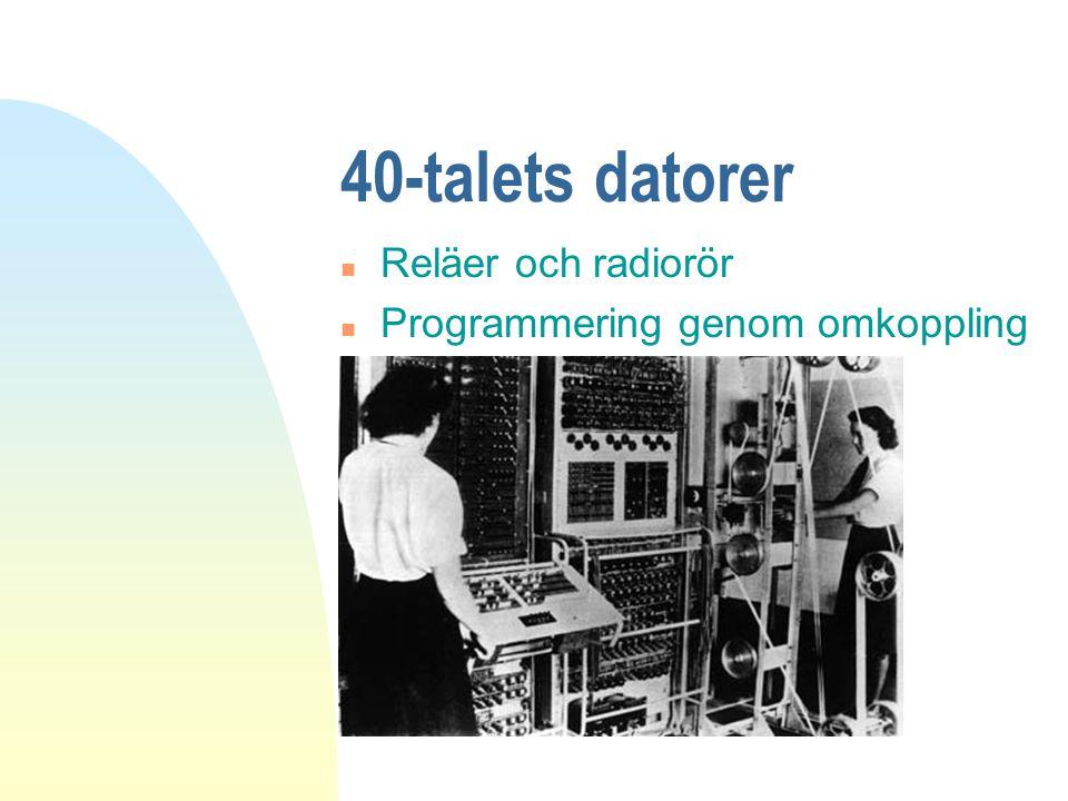 40-talets datorer Reläer och radiorör Programmering genom omkoppling
