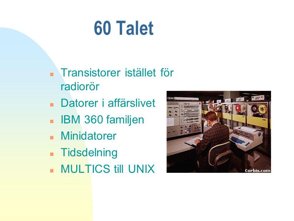 60 Talet Transistorer istället för radiorör Datorer i affärslivet