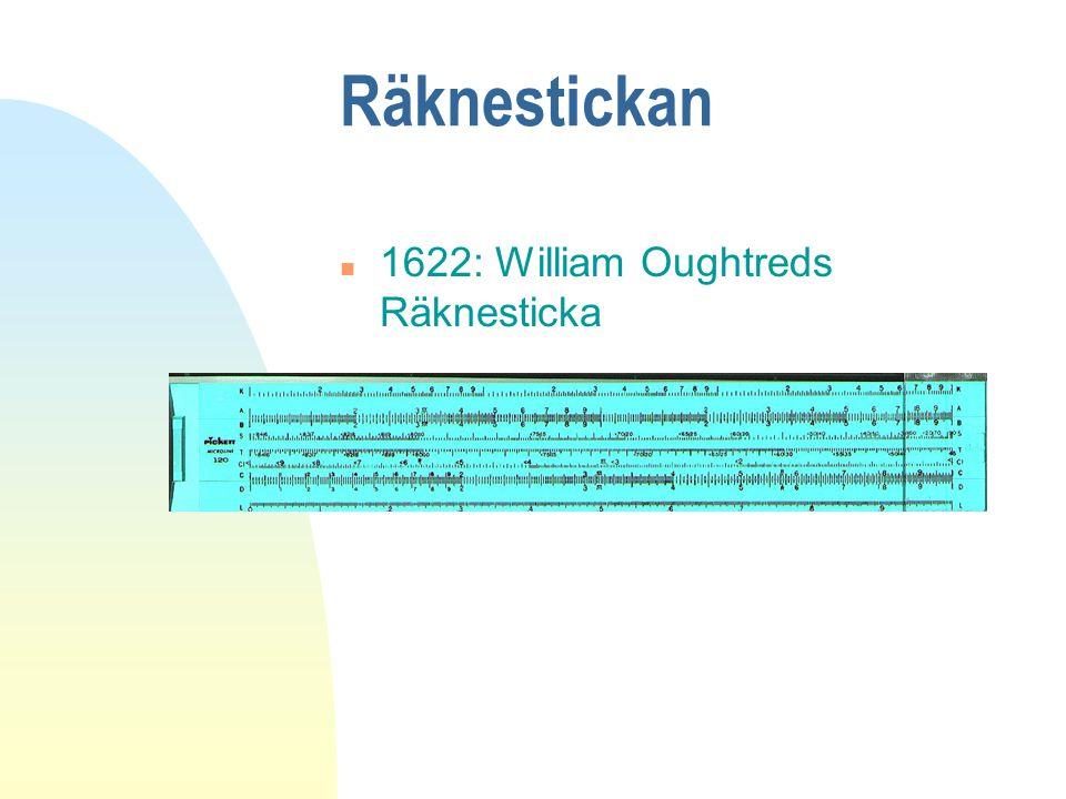 Räknestickan 1622: William Oughtreds Räknesticka