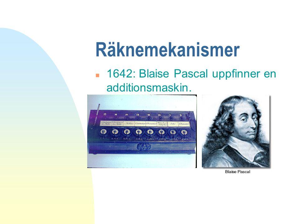 Räknemekanismer 1642: Blaise Pascal uppfinner en additionsmaskin.
