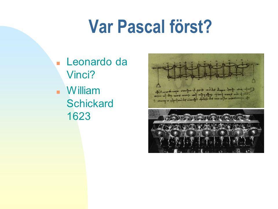 Var Pascal först Leonardo da Vinci William Schickard 1623