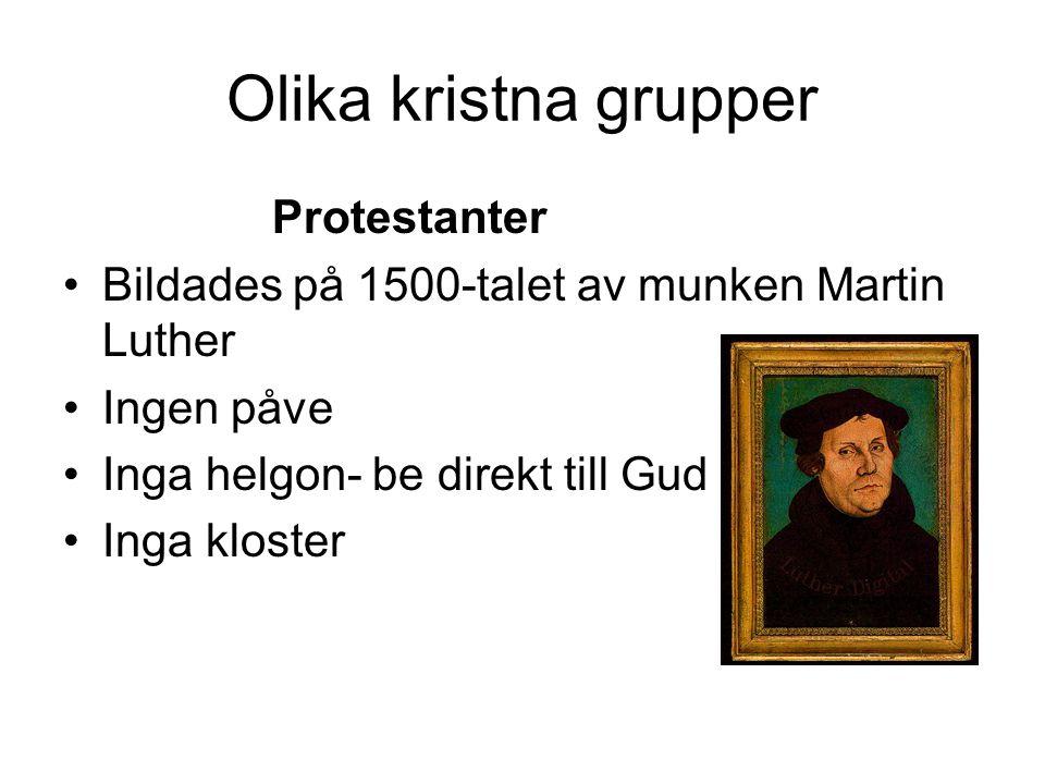 Olika kristna grupper Protestanter