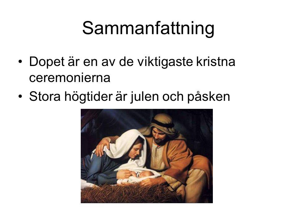Sammanfattning Dopet är en av de viktigaste kristna ceremonierna