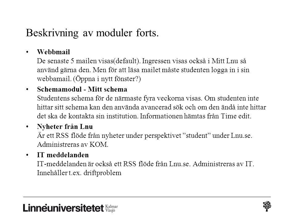 Beskrivning av moduler forts.