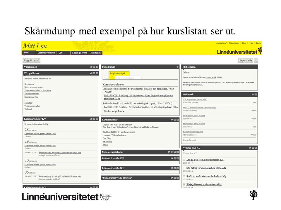 Skärmdump med exempel på hur kurslistan ser ut.