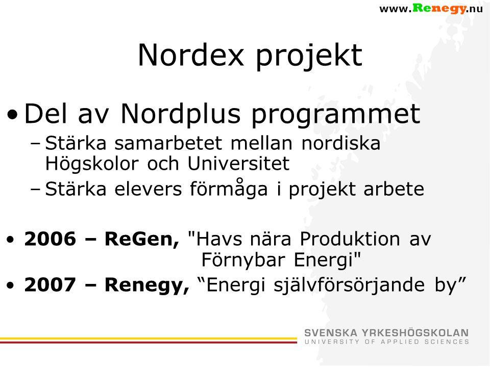 Nordex projekt Del av Nordplus programmet