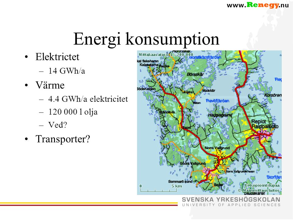 Energi konsumption Elektrictet Värme Transporter 14 GWh/a