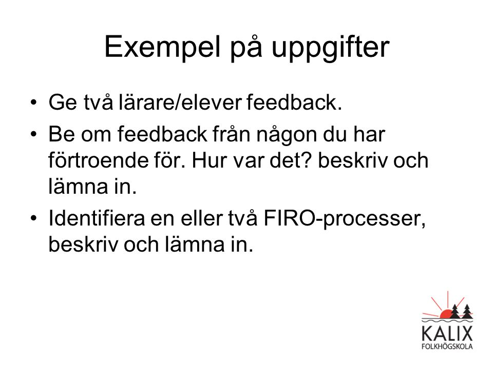 Exempel på uppgifter Ge två lärare/elever feedback.
