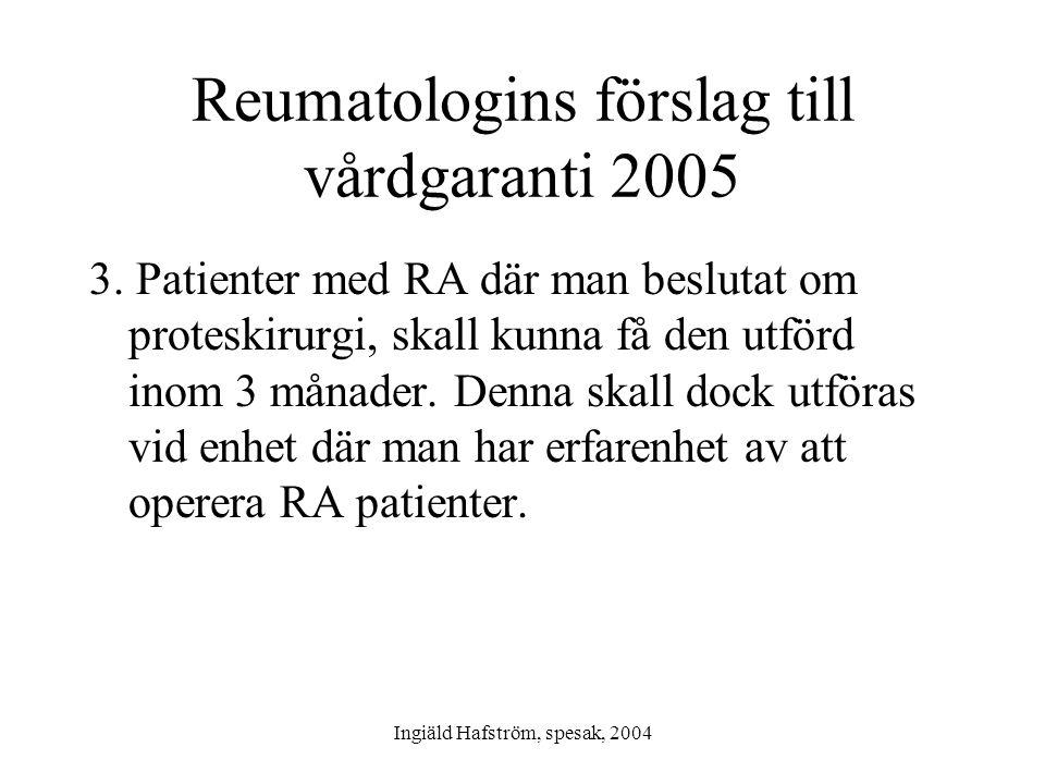 Reumatologins förslag till vårdgaranti 2005