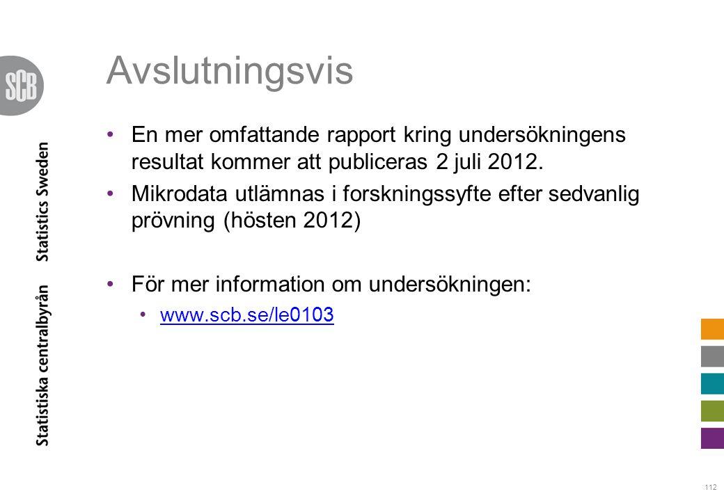 Avslutningsvis En mer omfattande rapport kring undersökningens resultat kommer att publiceras 2 juli 2012.