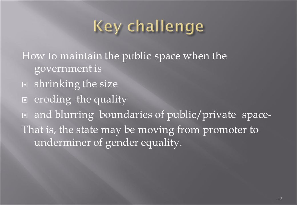 Key challenge How to maintain the public space when the government is