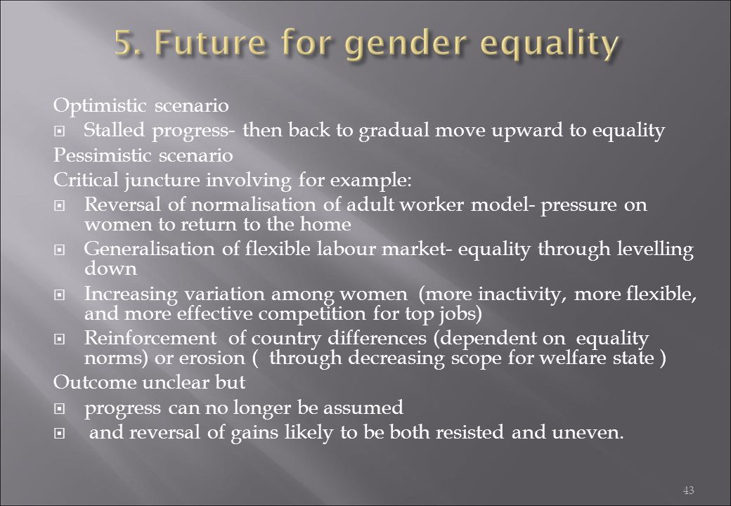5. Future for gender equality