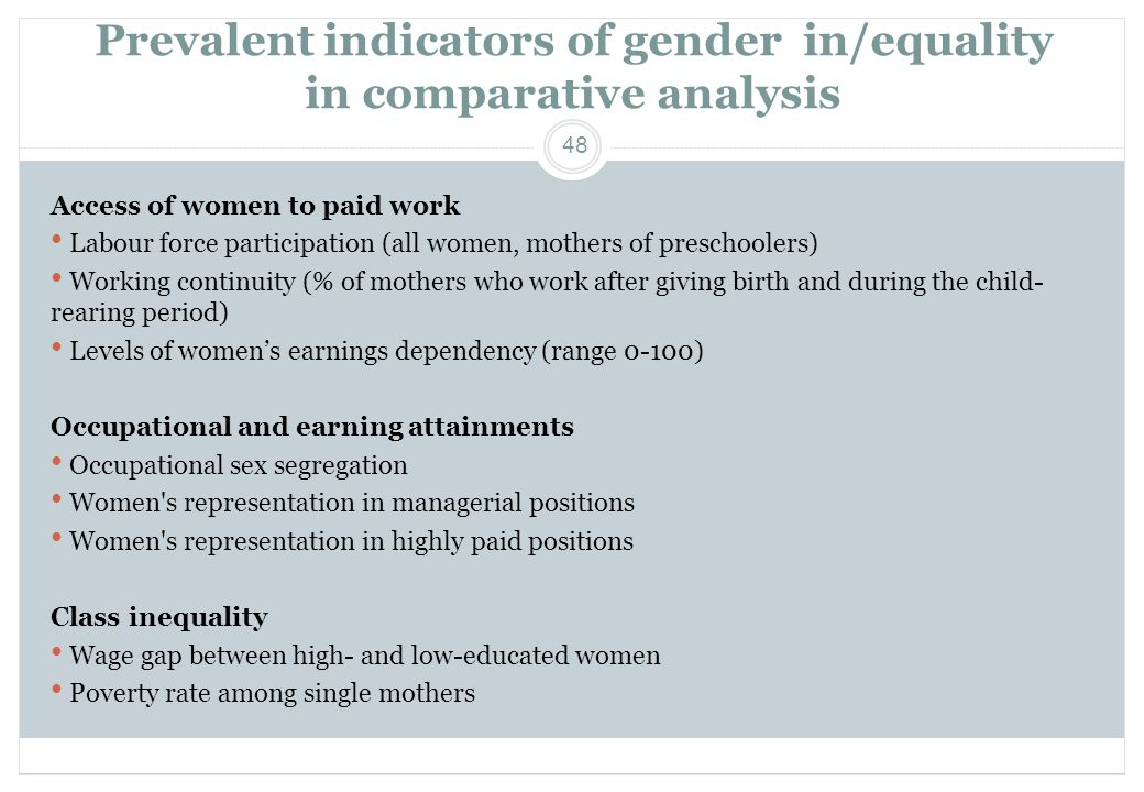 Prevalent indicators of gender in/equality in comparative analysis