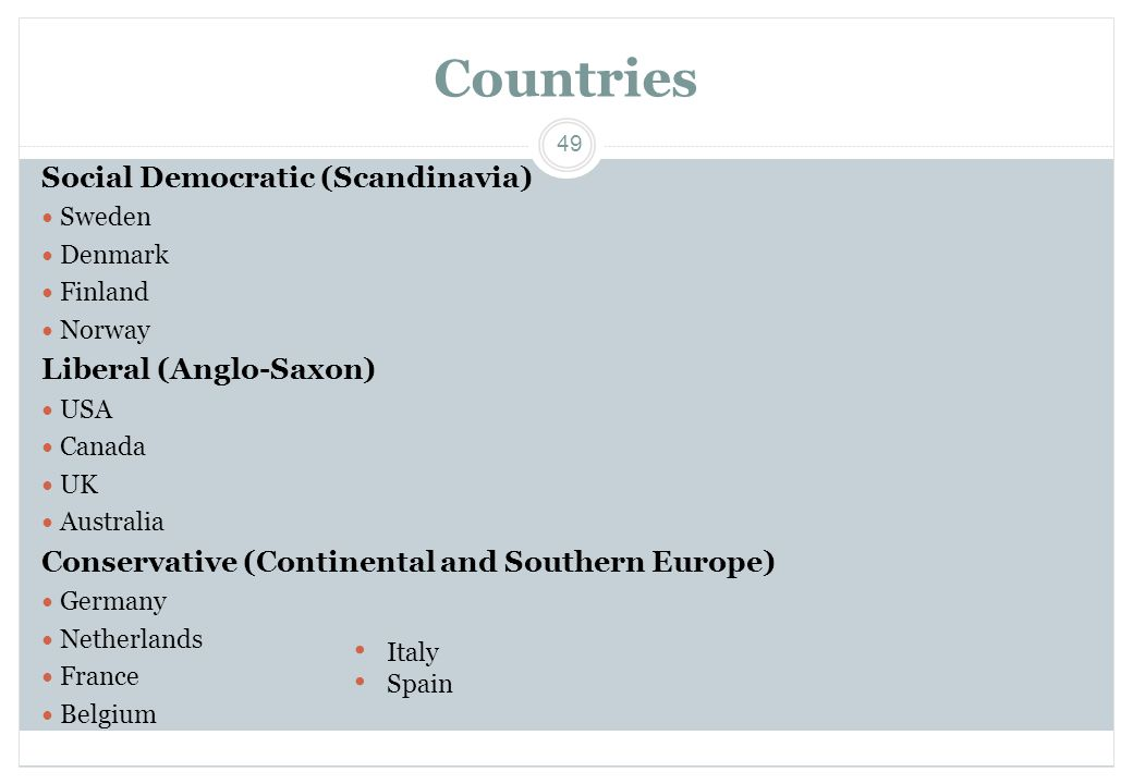 Countries Social Democratic (Scandinavia) Liberal (Anglo-Saxon)