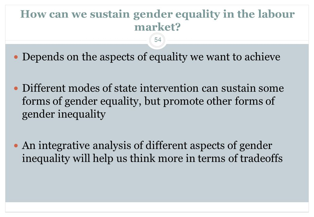 How can we sustain gender equality in the labour market