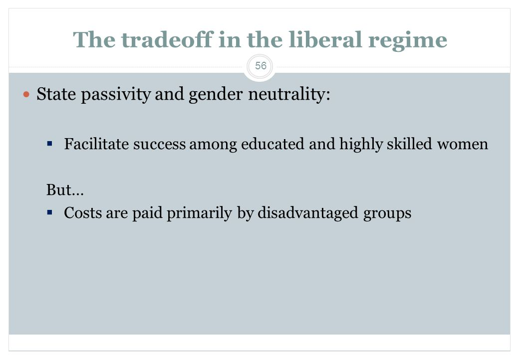 The tradeoff in the liberal regime