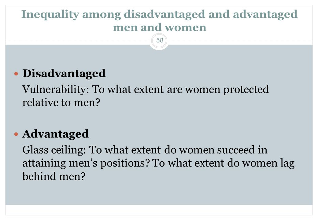 Inequality among disadvantaged and advantaged men and women