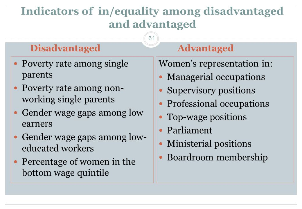 Indicators of in/equality among disadvantaged and advantaged