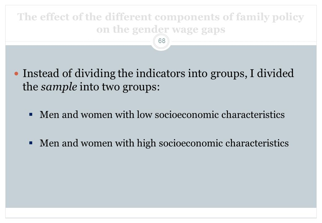 The effect of the different components of family policy on the gender wage gaps