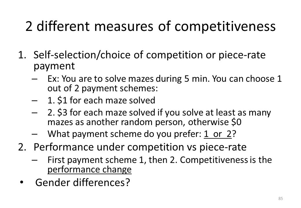 2 different measures of competitiveness