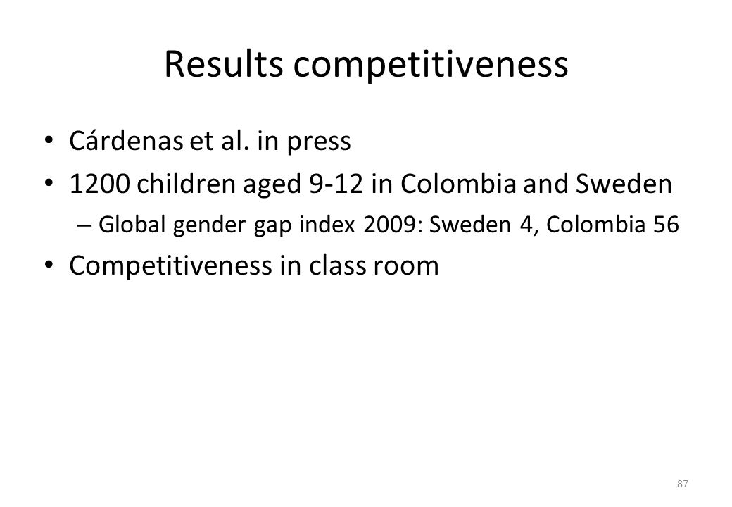 Results competitiveness