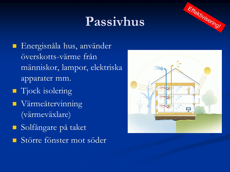 Passivhus Effektivisering! Energisnåla hus, använder överskotts-värme från människor, lampor, elektriska apparater mm.