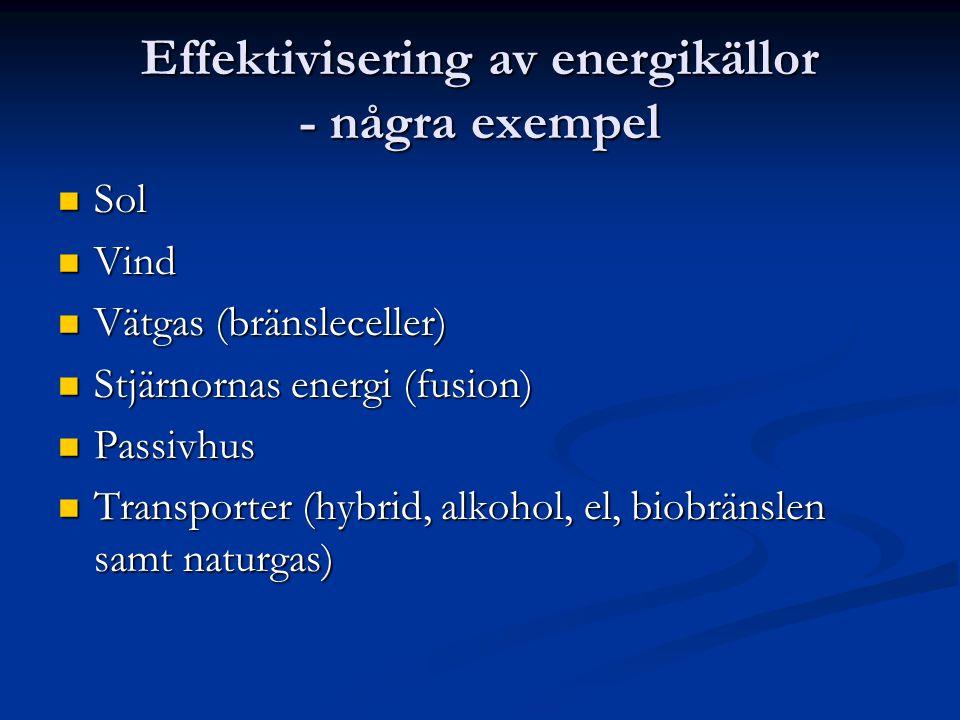 Effektivisering av energikällor - några exempel