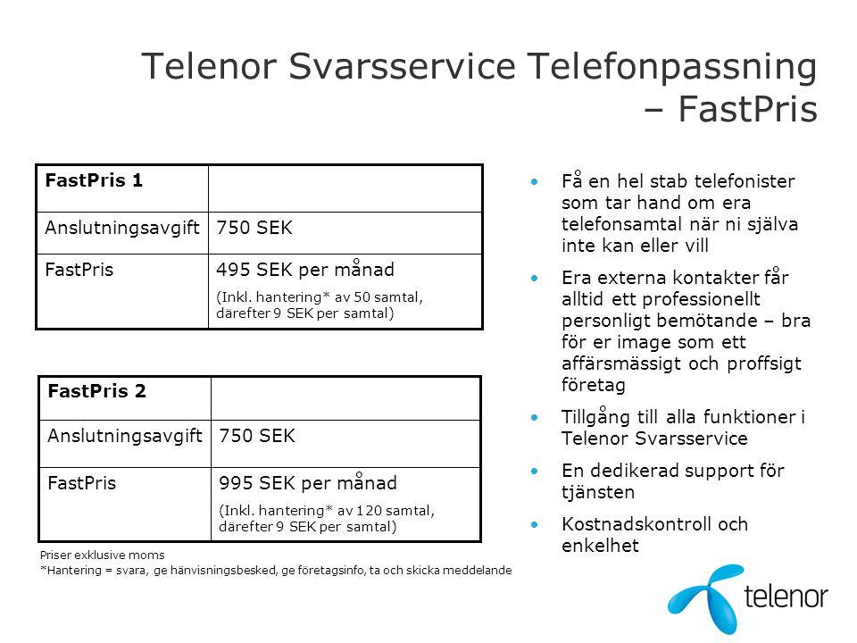Telenor Svarsservice Telefonpassning – FastPris