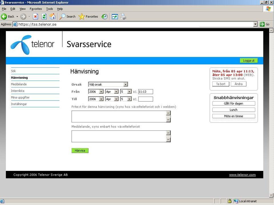 Interaktiv webbyta https://tss.telenor.se