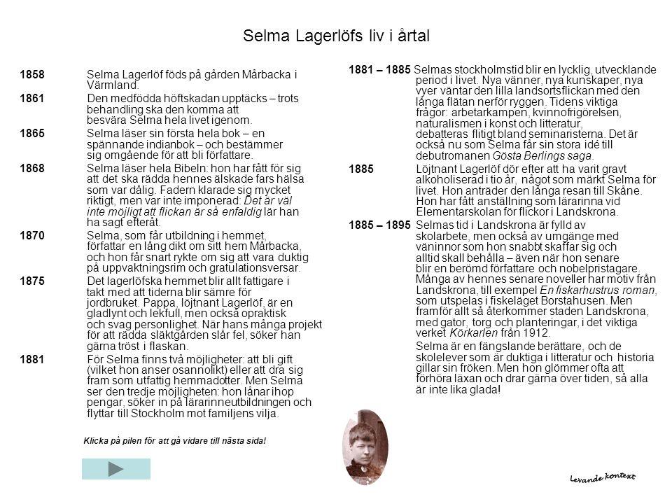 Selma Lagerlöfs liv i årtal