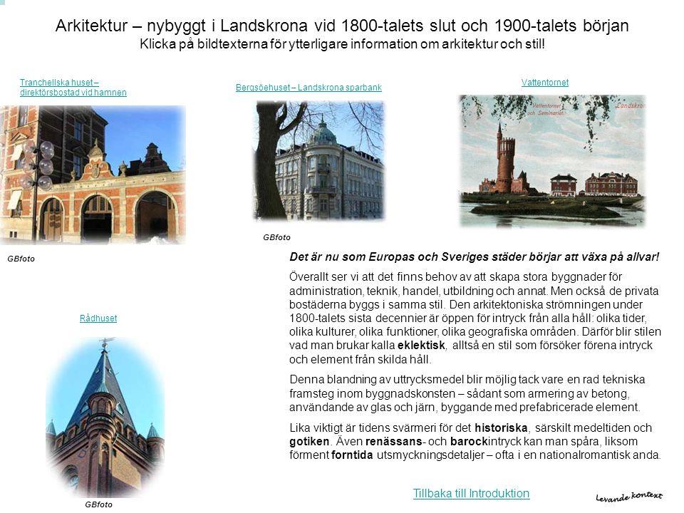 Arkitektur – nybyggt i Landskrona vid 1800-talets slut och 1900-talets början Klicka på bildtexterna för ytterligare information om arkitektur och stil!