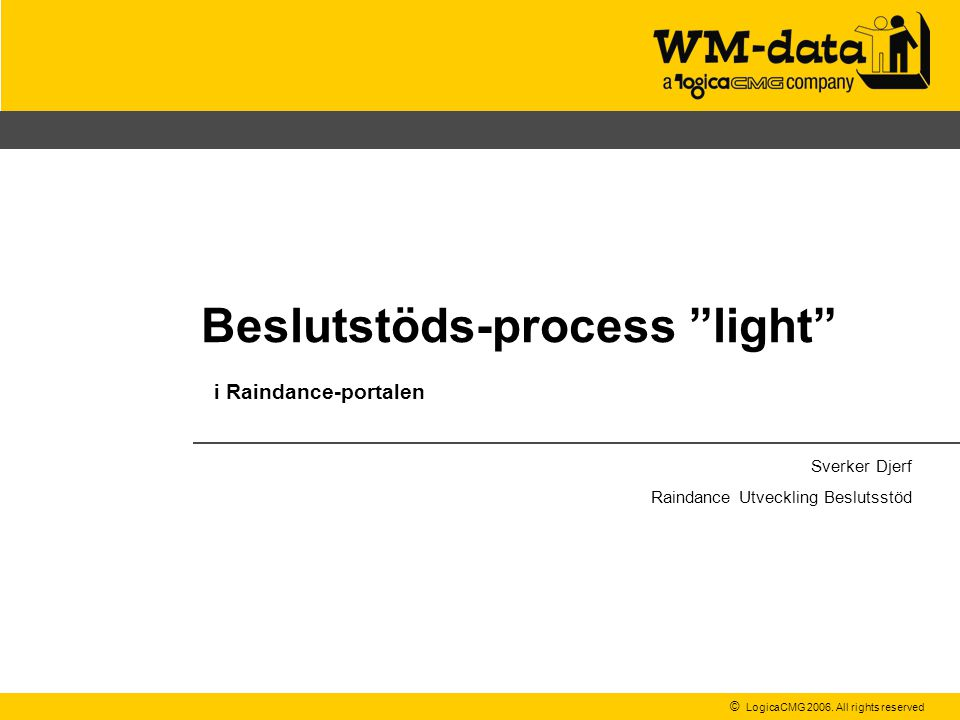 Beslutstöds-process light i Raindance-portalen