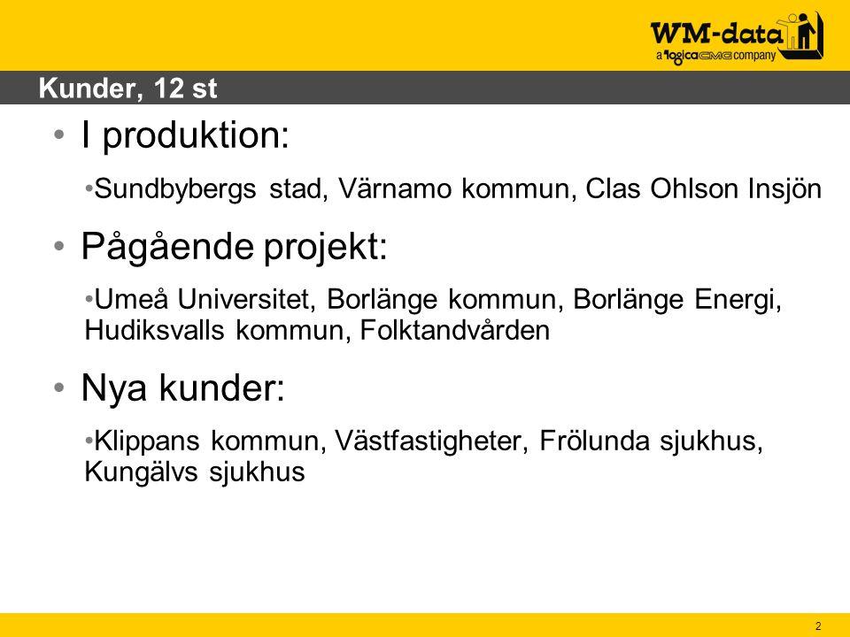 I produktion: Pågående projekt: Nya kunder: Kunder, 12 st