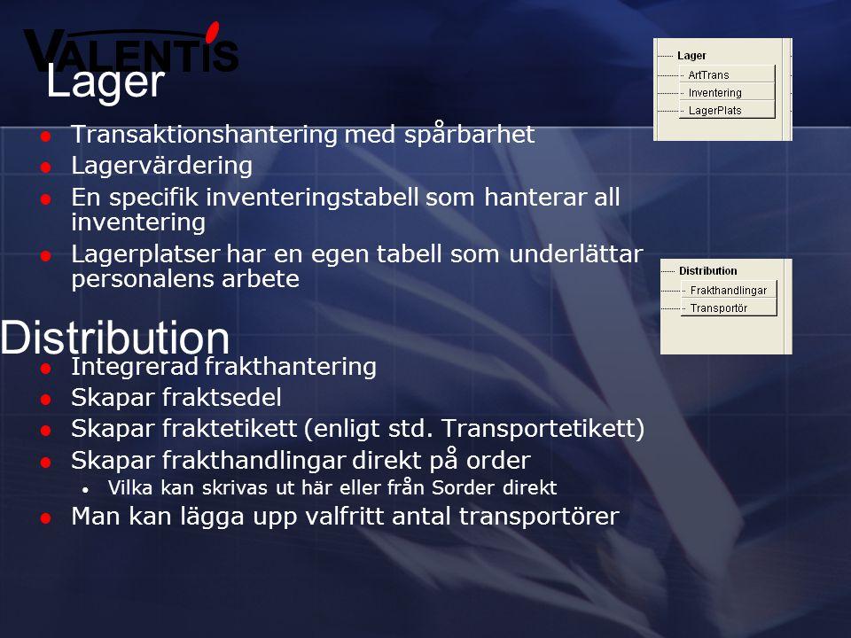 Lager Distribution Transaktionshantering med spårbarhet Lagervärdering