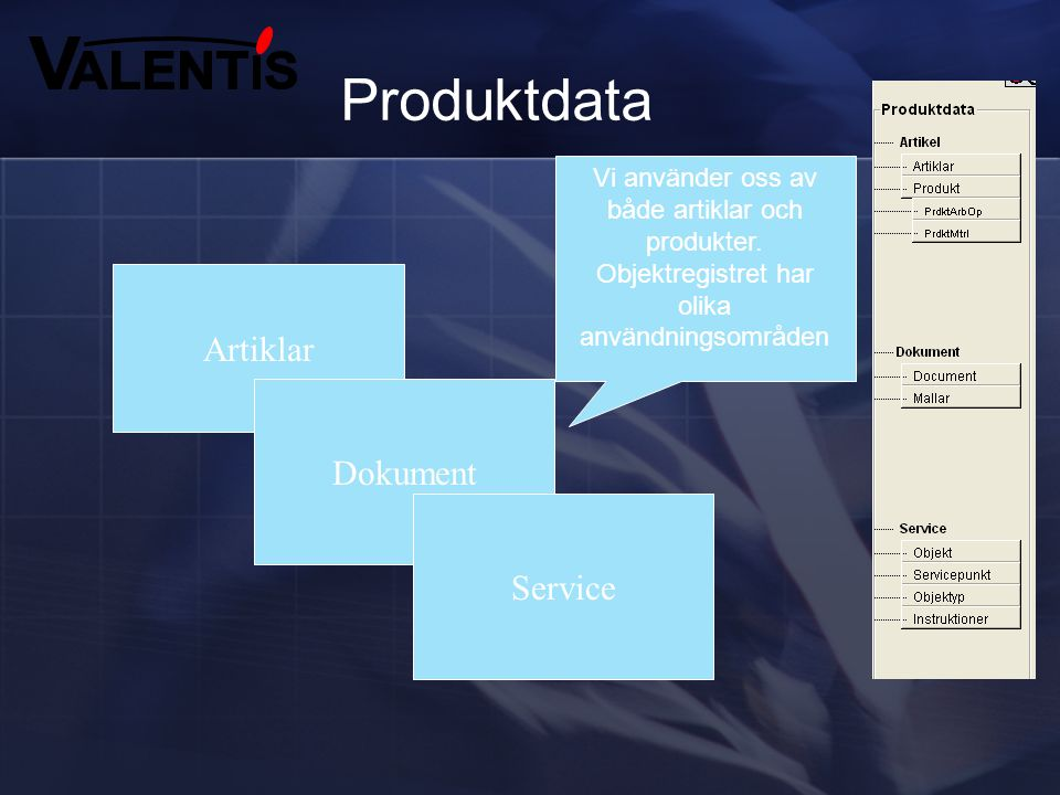 Produktdata Artiklar Dokument Service