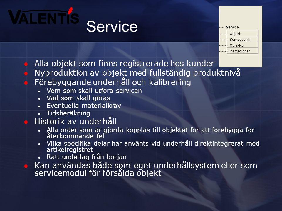 Service Alla objekt som finns registrerade hos kunder
