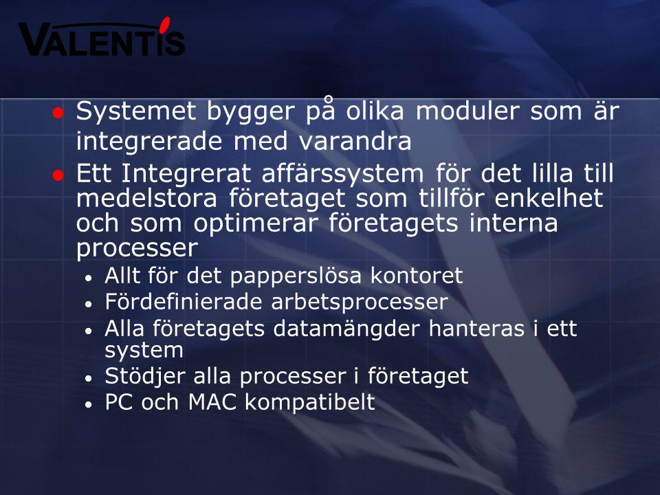 Systemet bygger på olika moduler som är integrerade med varandra
