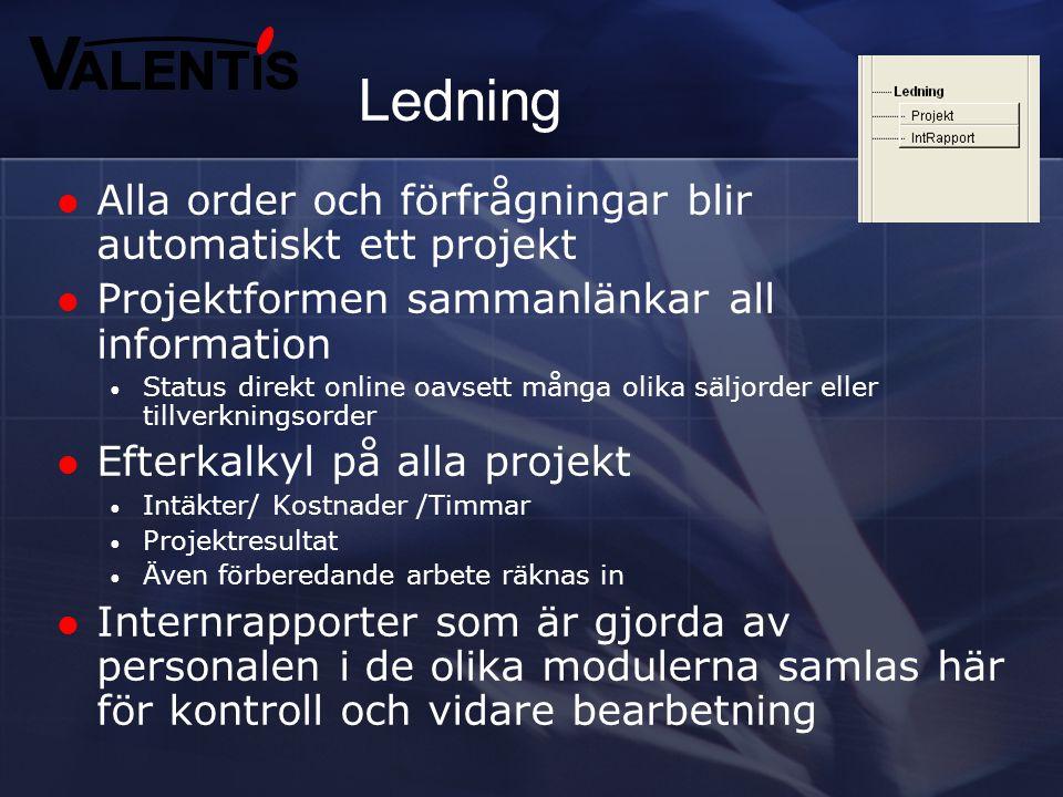 Ledning Alla order och förfrågningar blir automatiskt ett projekt